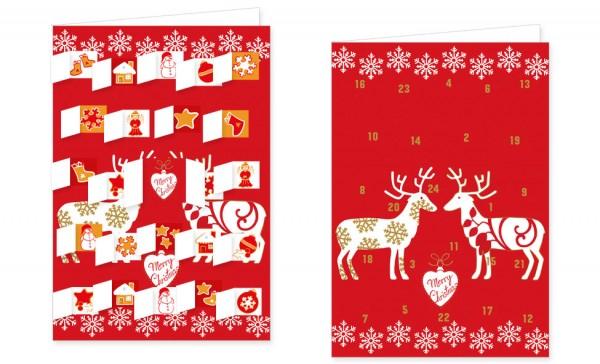 Adventskalenderdoppelkarte 'Merry Christmas'