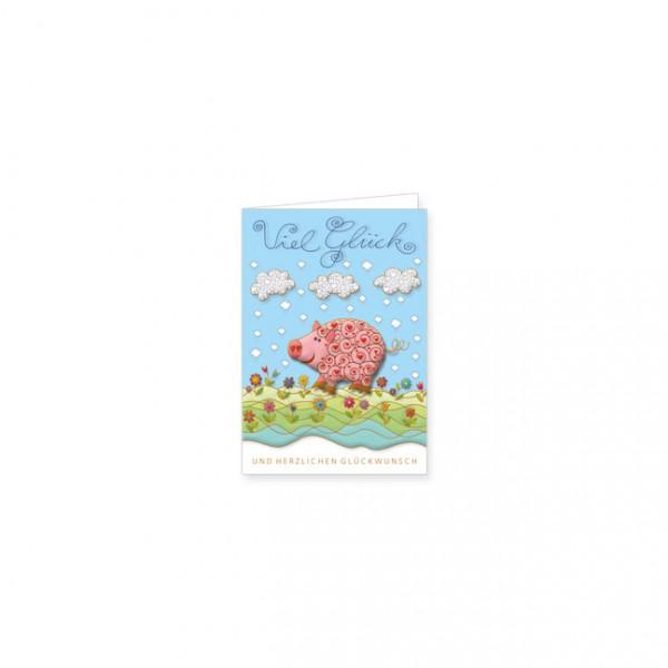 """Mini-Doppelkarte """"Viel Glück Schwein"""""""