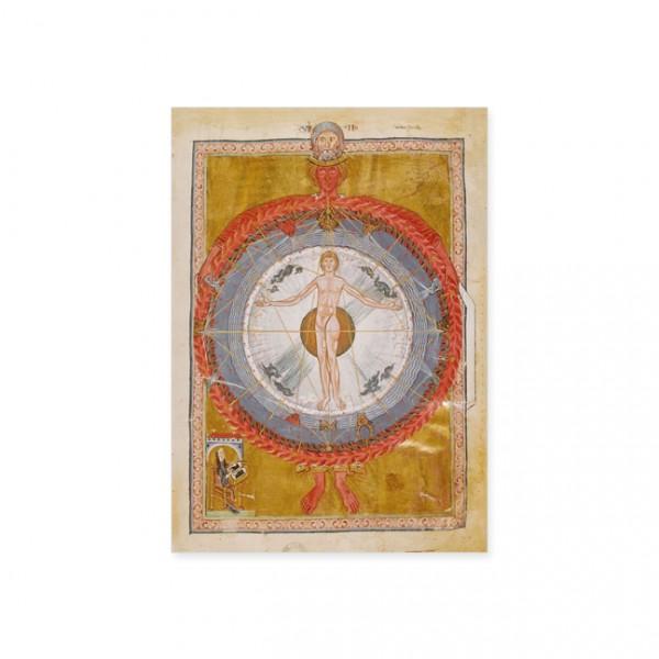 """Postkarte Gold """"Hildegard von Bingen und Mann im Zentrum des Universums"""