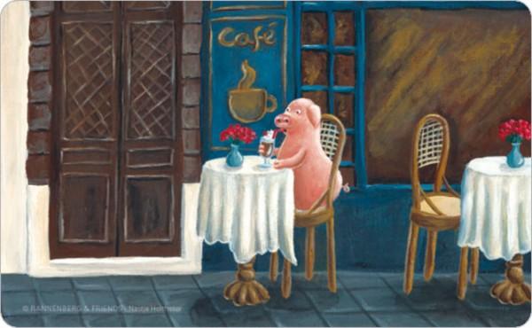 Frühstücksbrettchen 'Cafe-Schwein'