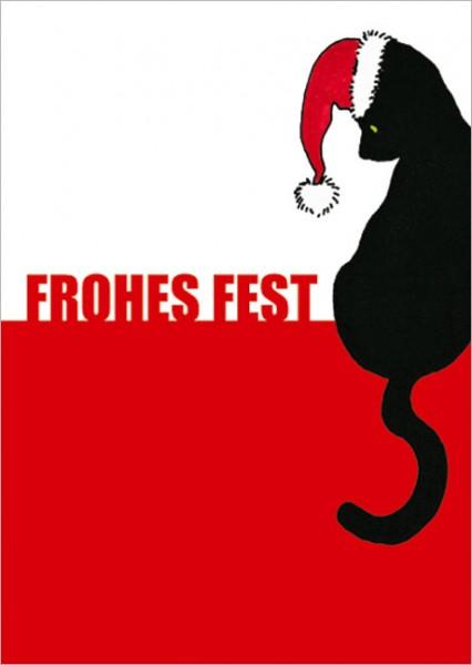 "Postkarte X-Mas ""Schwarze Katze ""Frohes Fest"""""