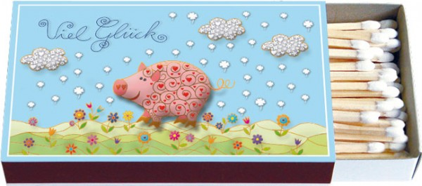Zündholz-Schachtel 'Viel Glück Schwein' von Amadeus Bachmayr