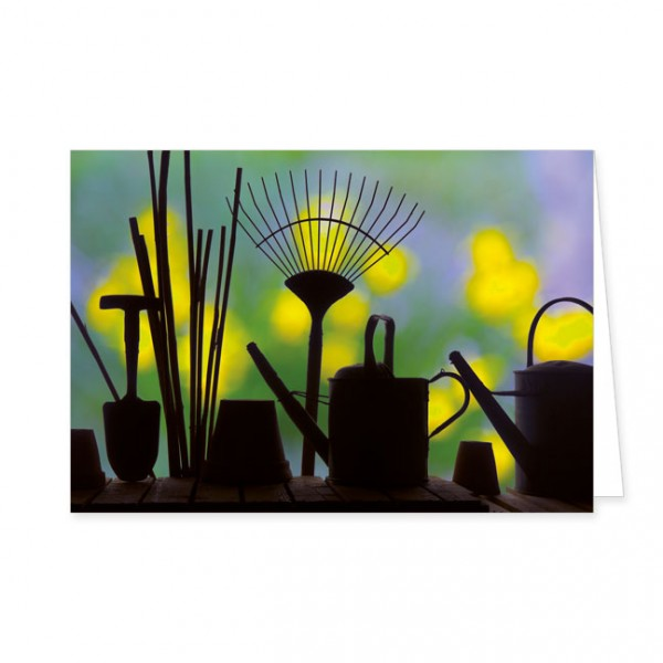 """Doppelkarte """"Silhouette von Gartengeräten"""""""