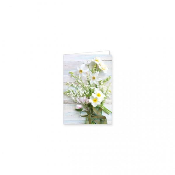 """Mini-Doppelkarte """"Frühlingsbouquet in Weiß"""""""