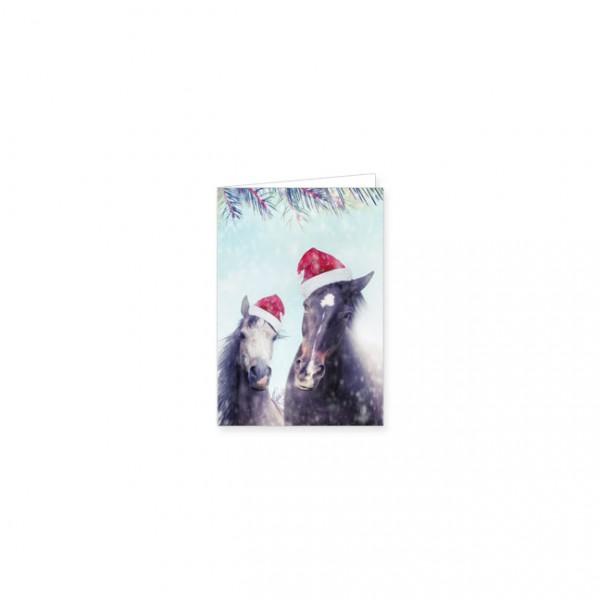 """Mini-Doppelkarte X-Mas """"Hottehü mit Weihnachtsmütze"""""""