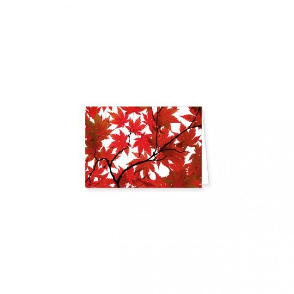 "Mini-Doppelkarte ""Rote Ahornblätter"""