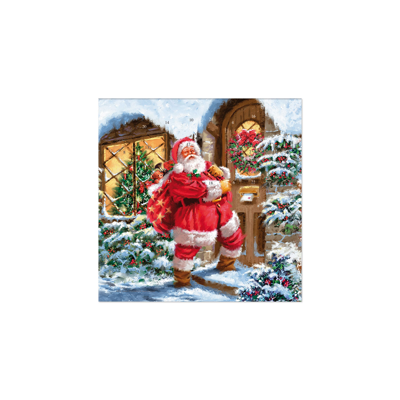 adventskalender weihnachtraum santa steht vor der t r. Black Bedroom Furniture Sets. Home Design Ideas
