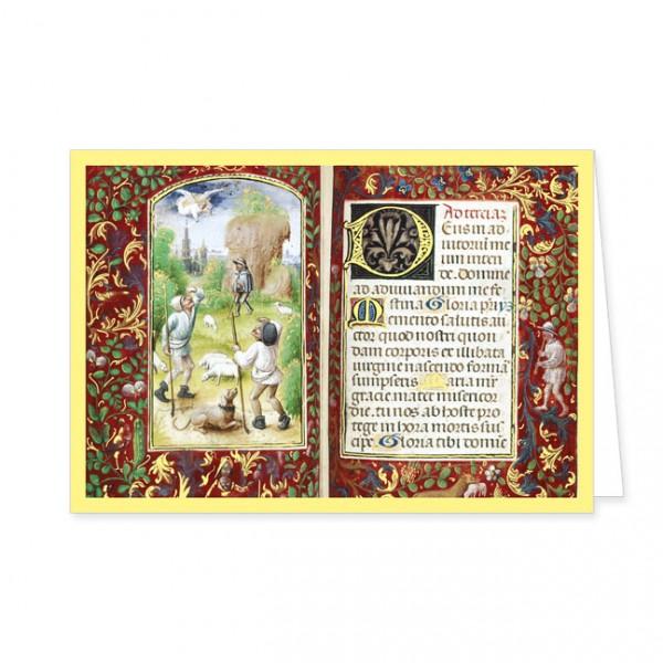 """Doppelkarte Gold """"Die Verkündung der Engel an die Hirten"""""""