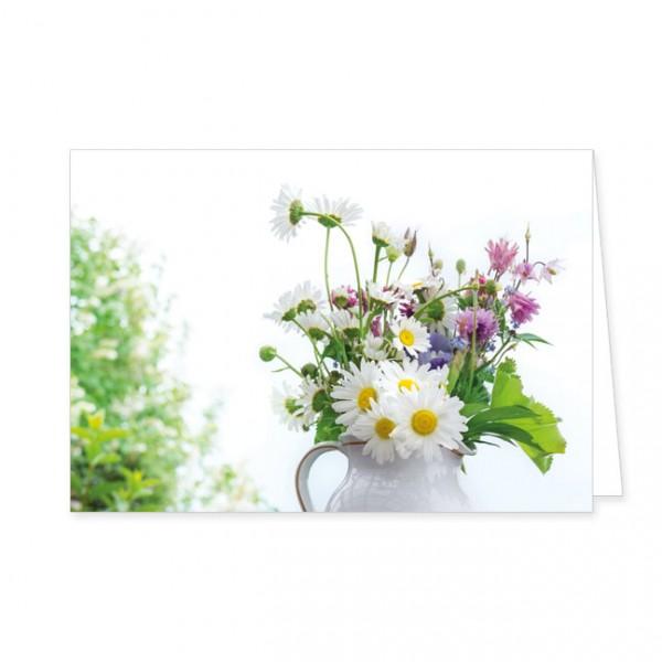 """Doppelkarte """" Blumenstrauss mit Margeriten und Akelei """""""