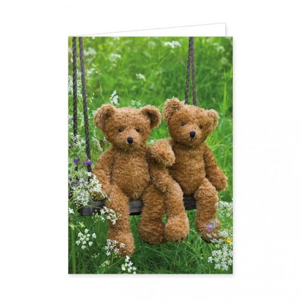 """Doppelkarte """"Zwei Teddybären auf der Schaukel"""""""