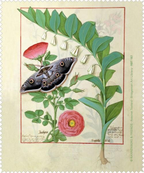 Brillenputztuch 'Rose und Vielblütige Weißwurz'