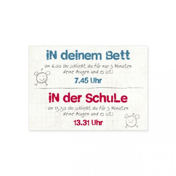 """Postkarte """"Bett und Schule"""""""