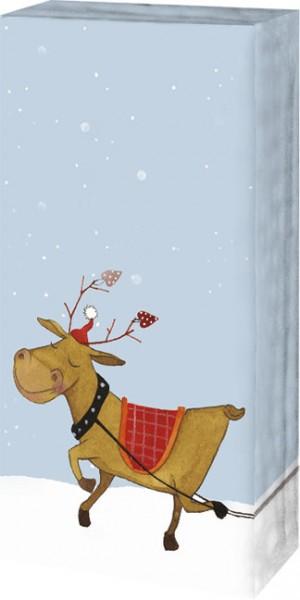 X mas taschent cher rentier mit weihnachten for Weihnachtsbaum fa r fensterbank