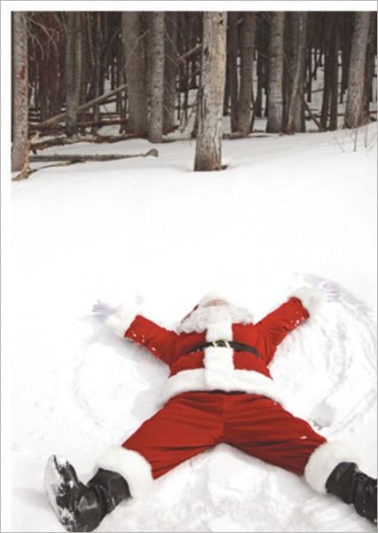 """Postkarte X-Mas """"Der Weihnachtsmann im Neuschnee"""""""