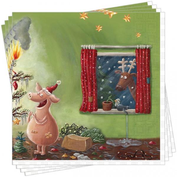 Servietten X-Mas 'Weihnachten mit dem Chaos-Schwein'