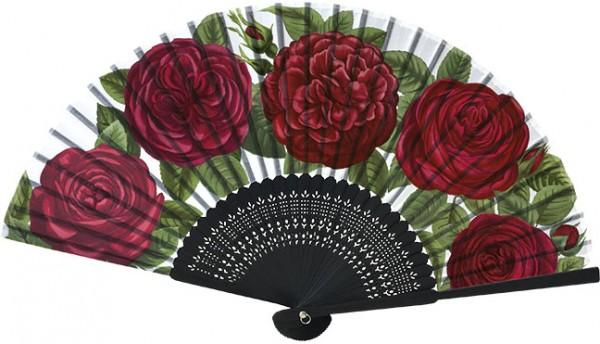 """Handfächer """"Rote Rosen"""