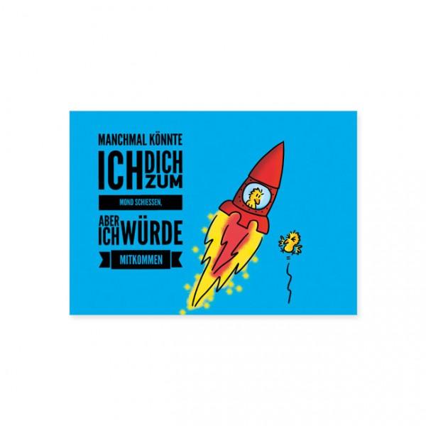 """Postkarte """" Zum Mond schiessen """""""