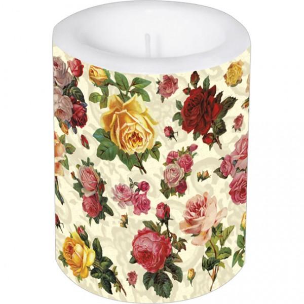 Lampionkerze groß 'Nostalgische Rosen'