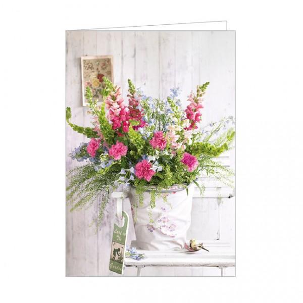 """Doppelkarte """" Bunter Blumenstrauß auf einem Gartenstuhl """""""