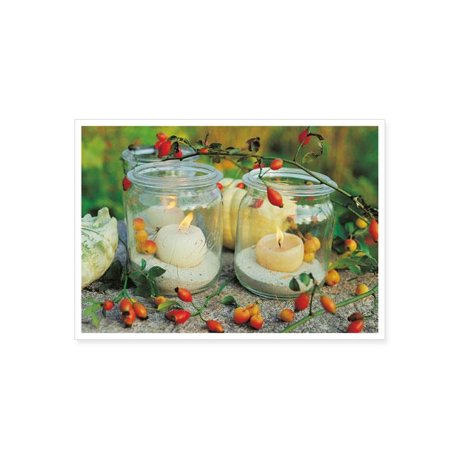 postkarte kerzen im glas postkarte saison herbst karten rannenberg friends. Black Bedroom Furniture Sets. Home Design Ideas