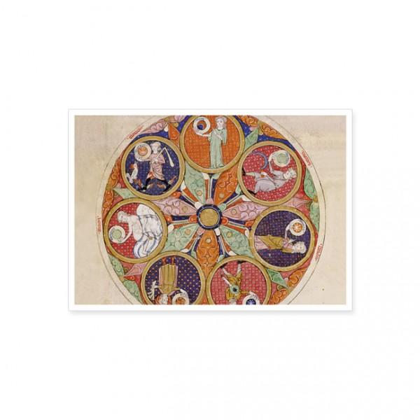 "Postkarte Gold ""Tafel der Planeten"""