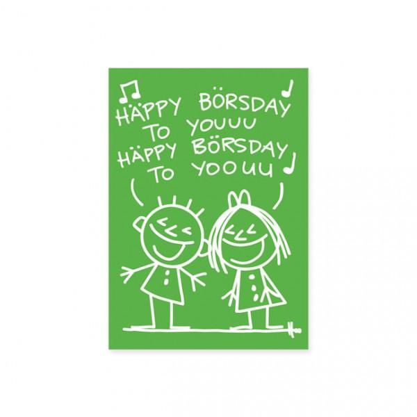 """Postkarte """"happy börsday"""""""