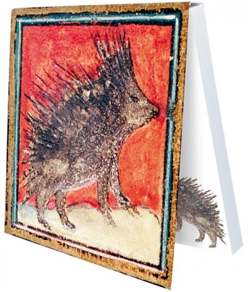 Klebezettel 'Igel aus dem Bestiarium' aus Le Livre des Proprietes des Choses