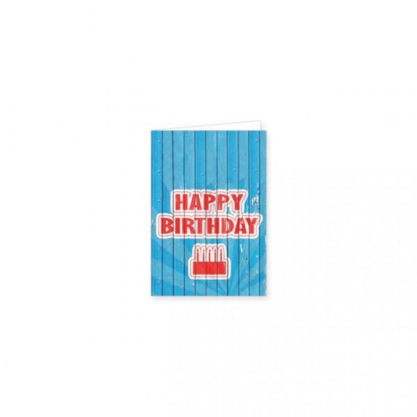 "Mini-Doppelkarte ""Happy Birthday blau"""