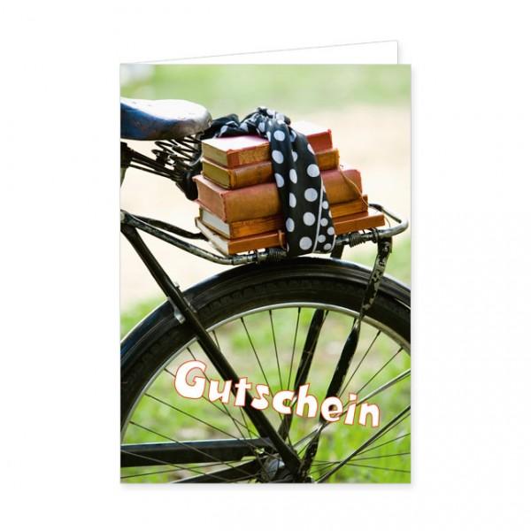 """Geschenk-Gutschein """"Fahrrad mit Büchern"""""""