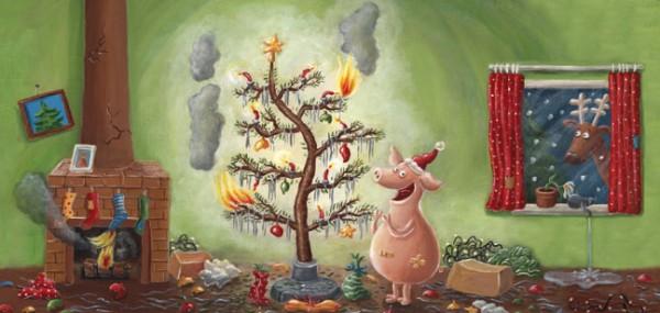 """XXL-Postkarte X-Mas """"Weihnachten mit dem Chaos-Schwein"""""""