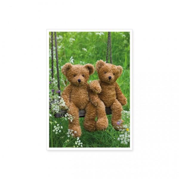 """Postkarte """"Zwei Teddybären auf der Schaukel"""""""