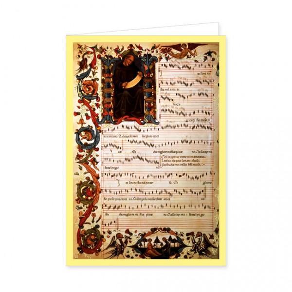 """Doppelkarte Gold""""Notenseite aus """"Squarcialupi Codex"""""""""""