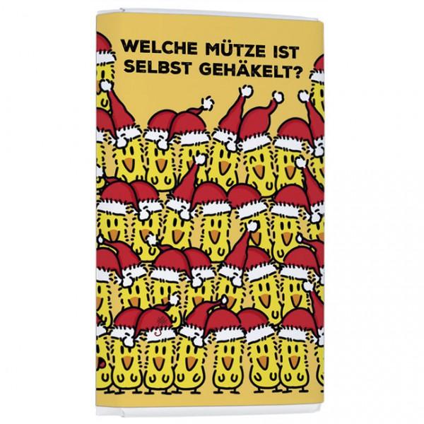 Schokoladentäfelchen Weihnachten 'Fürs Hirn-Mütze gehäkelt' von Alexander Holzach