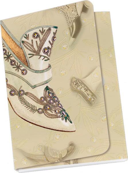 Taschennotizblöckchen 'Historische Schuhe - bestickter Pumps'
