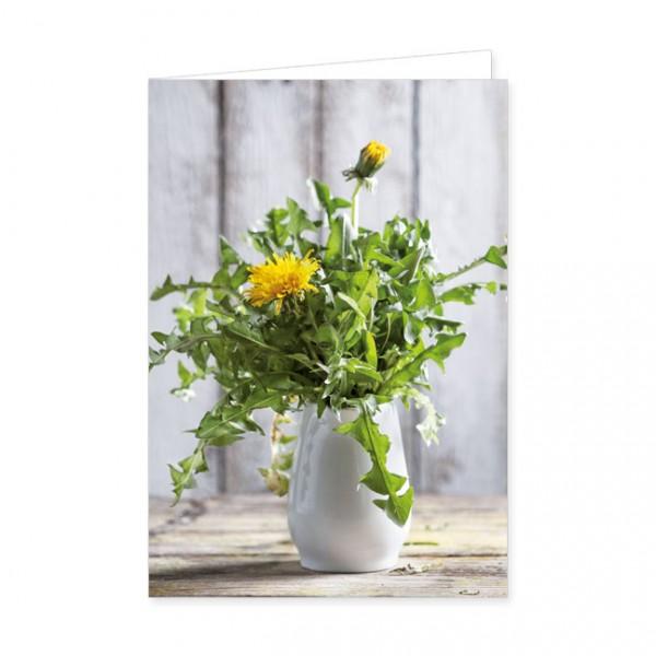 """Doppelkarten """"Löwenzahn in einer weißen Vase"""""""