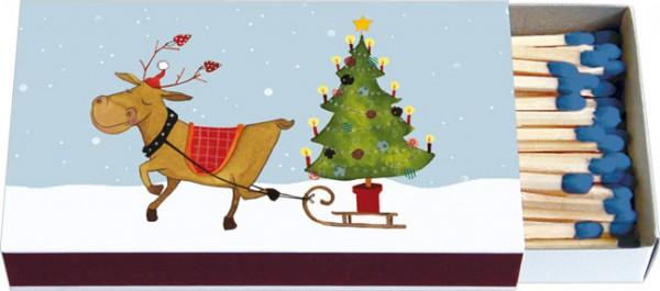 """X-mas Zündholz-Schachteln """"Rentier mit Weihnachtsbaum"""""""