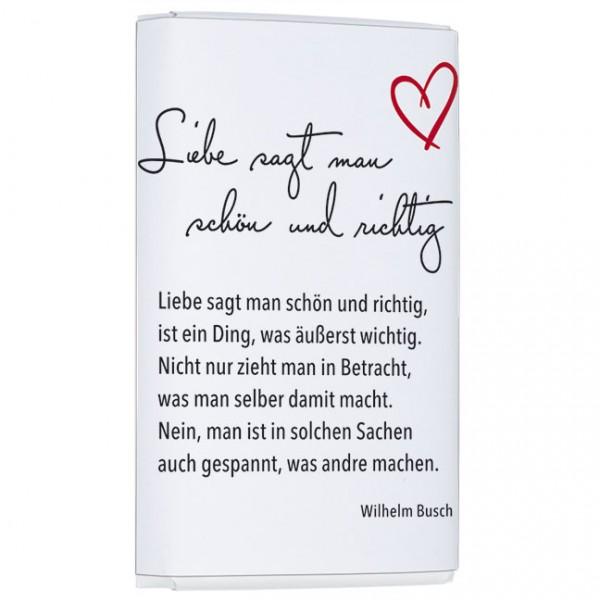 Schokoladentäfelchen 'Liebe sagt man'