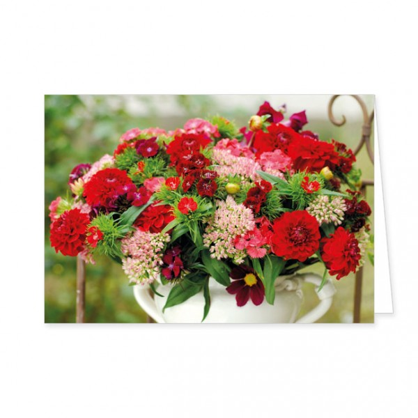 "Doppelkarte "" Sommerblumen in weisser Vase """