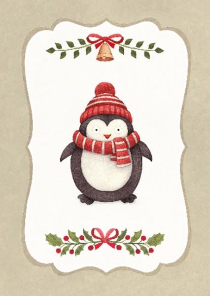 "Postkarte X-Mas ""Knuddliger Pinguin"""