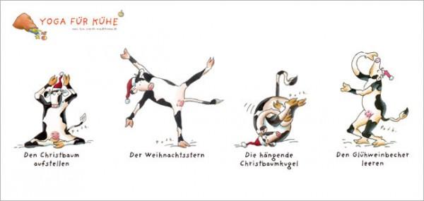 """XXL-Postkarte X-Mas """"Weihnachten mit den Yoga Kühen"""""""