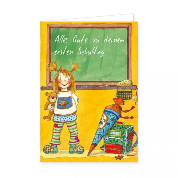 """Doppelkarte """"Alles Gute zu deinem ersten Schultag"""""""