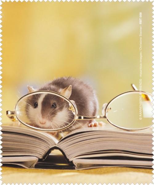 Brillenputztuch 'Leseratte mit Brille'
