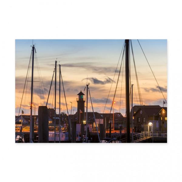 """Postkarten Large """" Juist, der Hafen zur Blauen Stunde """""""