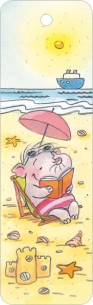 """Lesezeichen """"Lesefant am Strand"""""""