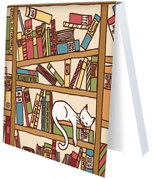 "Klebezettel ""Katze im Bücherregal"""