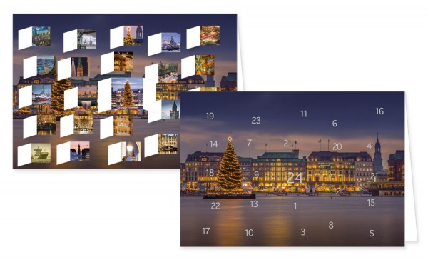 Adventskalenderdoppelkarte 'Hamburg'