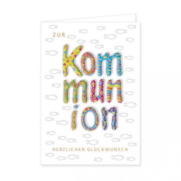 """Doppelkarten """"Zur Kommunion bunte Glückwünsche"""""""