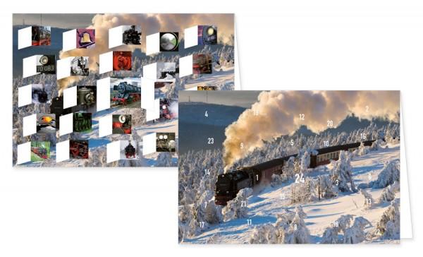 Adventskalenderdoppelkarte 'Dampflokomotiven'