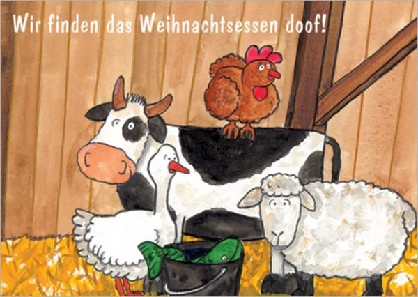 """Postkarte X-Mas """"Wir finden das Weihnachstessen doof!"""""""