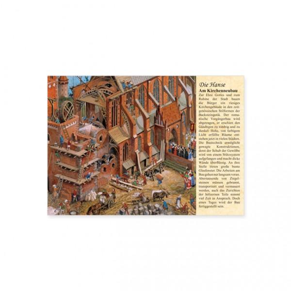 """Postkarte """"Die Hanse: Am Kirchenneubau"""""""